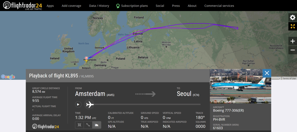 KLM flight KL895 from Amsterdam to Seoul returned to Amsterdam due to a medical emergency