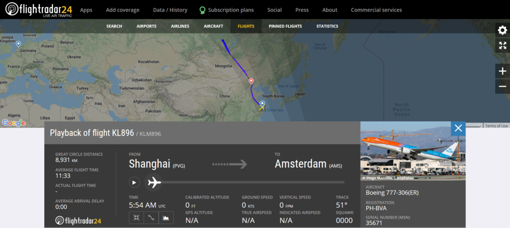 KLM flight KL896 from Shanghai to Amsterdam diverted to Beijing due to an engine issue