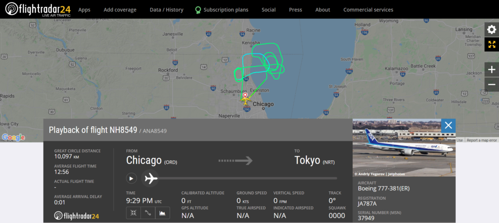 All Nippon Airways flight NH8549 from Chicago to Tokyo declared an emergency and returned to Chicago due to an engine issue