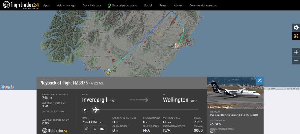 Air New Zealand flight NZ8876 from Invercargill to Wellington diverted to Dunedin due to a medical emergency