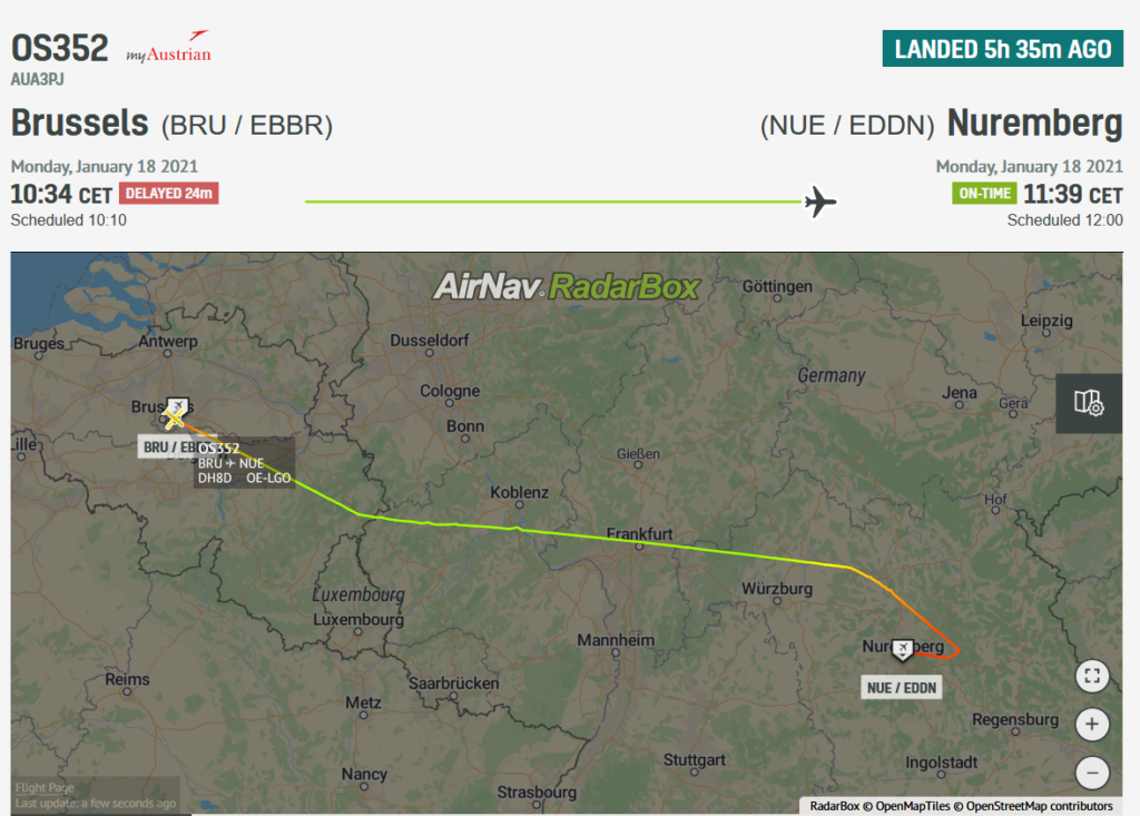 An Austrian Airlines flight OS352 from Brussels to Vienna diverted to Nuremberg due to a cracked windshield
