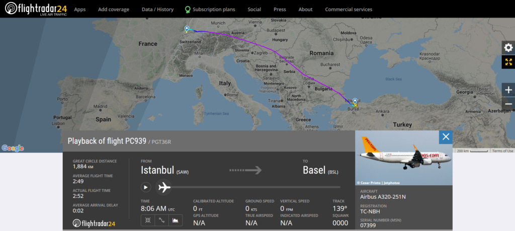 A Pegasus Airlines flight PC939 from Istanbul to Basel suffered a landing gear issue during landing