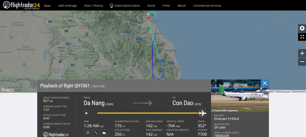 A Bamboo Airways flight QH1061 from Da Nang to Con Dao declared an emergency and returned to Da Nang due to a fuel leak