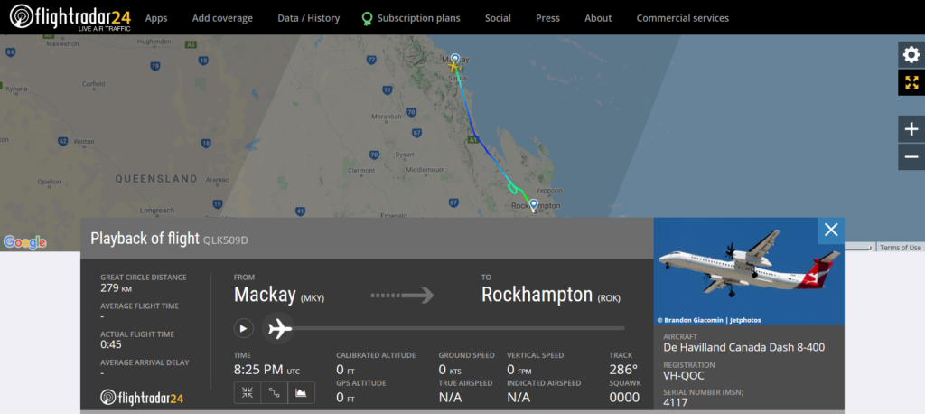 Qantas flight QLK509D from Mackay to Brisbane diverted to Rockhampton due to a smell in the cockpit
