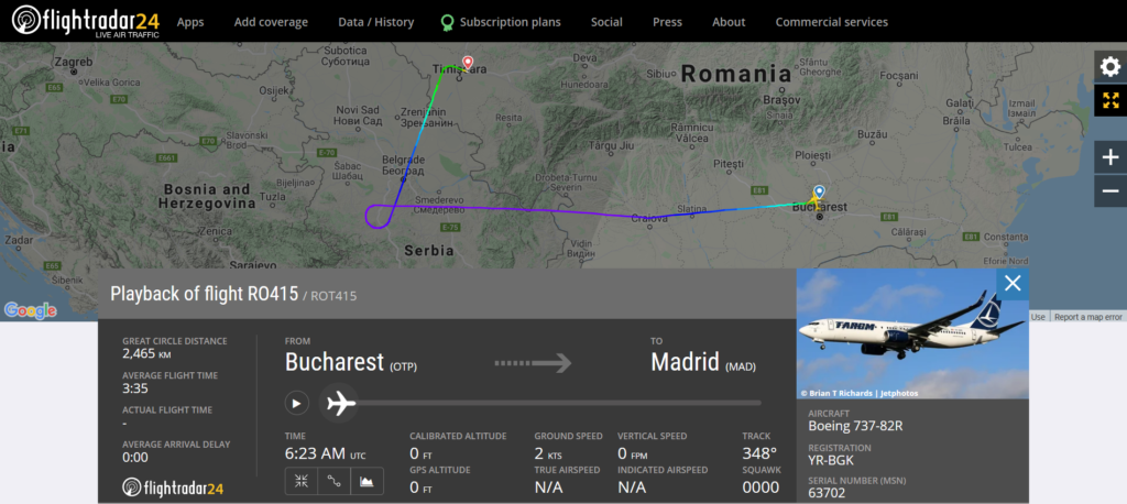 A TAROM flight RO415 from Bucharest to Madrid diverted to Timisoara due to a medical emergency