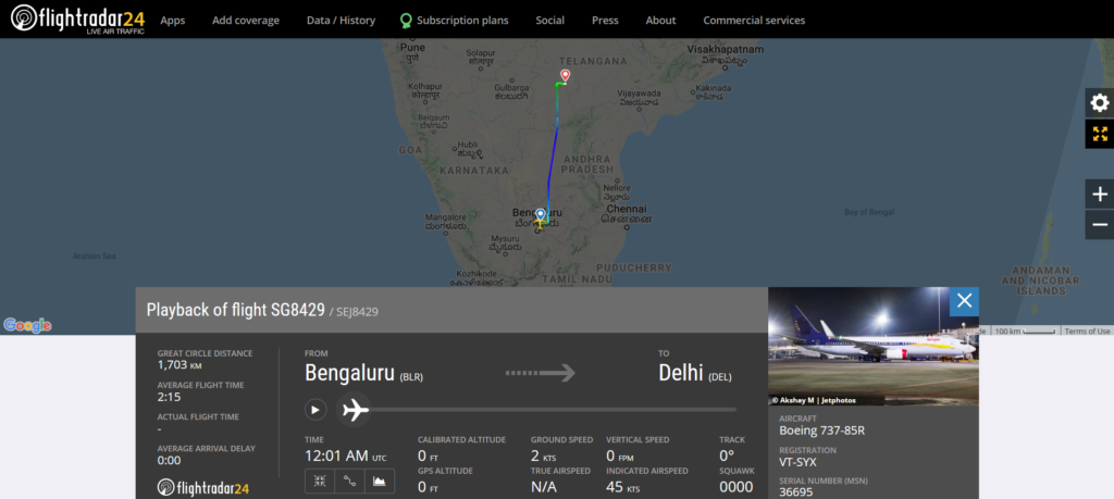 A SpiceJet flight SG8429 from Bengaluru to Delhi diverted to Hyderabad due to technical reasons