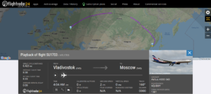 Aeroflot flight SU1703 from Vladivostok to Moscow reported a brakes indication