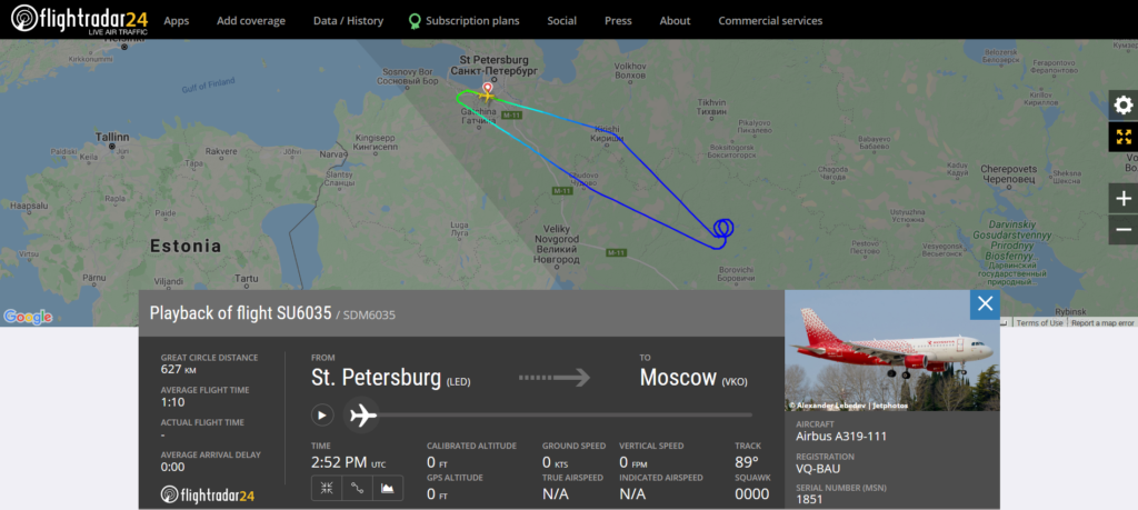 Aeroflot flight SU6035 from St. Petersburg to Moscow returned to St. Petersburg due to an engine issue