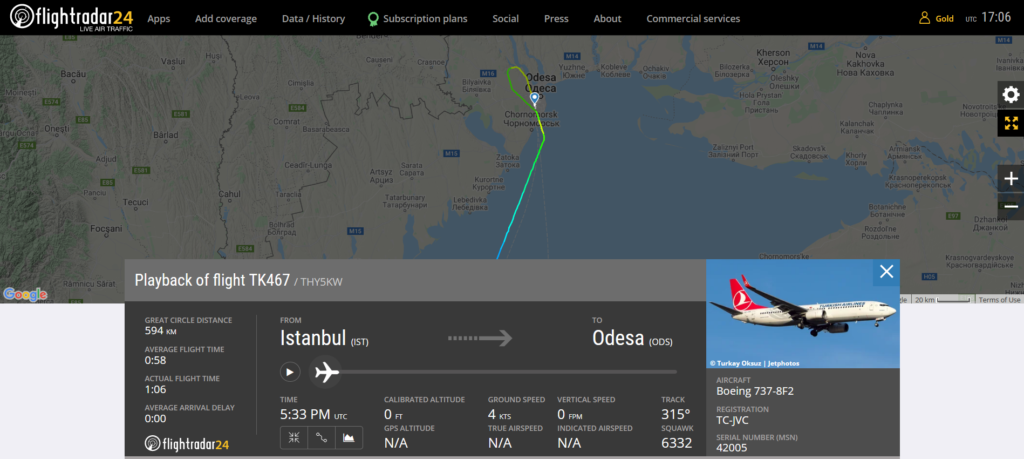 Turkish Airlines flight TK467 from Istanbul to Odesa experienced an ILS signal issue on landing