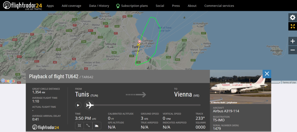 Tunisair flight TU642 from Tunis to Vienna returned to Tunis due to a landing gear issue