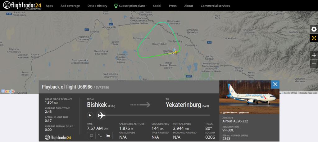 Ural Airlines flight U68986 from Bishkek to Yekaterinburg returned to Bishkek due to odor in the cockpit