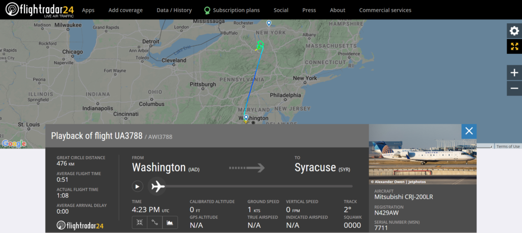 United Airlines flight UA3788 from Washington to Syracuse diverted to Elmira due to an engine issue
