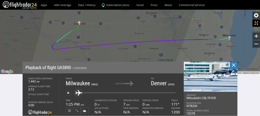 United Airlines flight UA5890 from Milwaukee to Denver diverted to Sioux Falls due to a cracked windshield