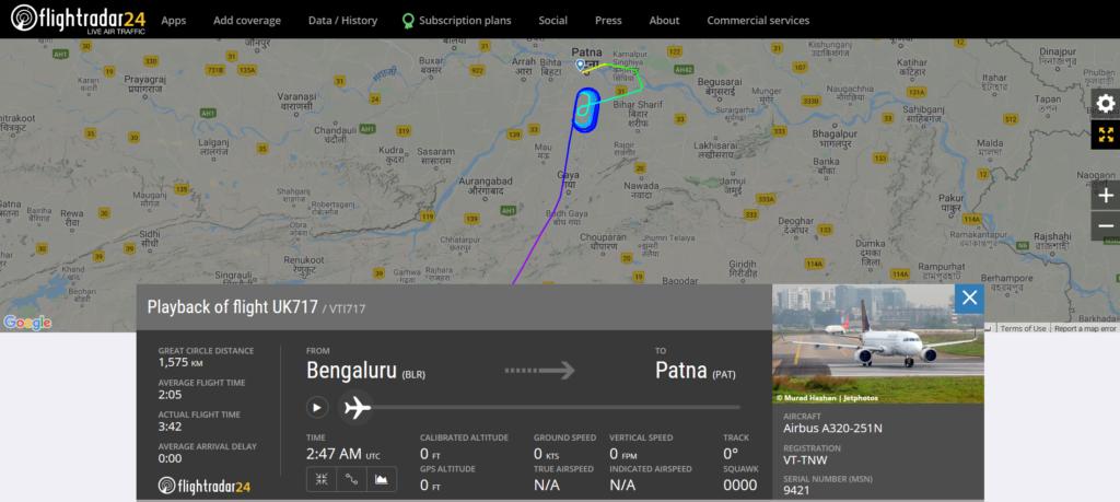 Vistara flight UK717 from Bengaluru to Patna suffered a bird strike during landing