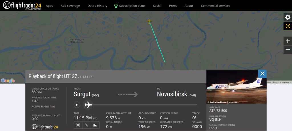 Utair flight UT137 from Surgut to Novosibirsk suffered an engine issue