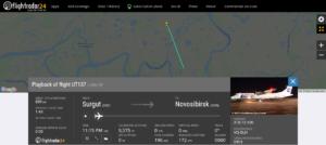 Utair flight UT137 from Surgut to Novosibirsk suffered an engine issue