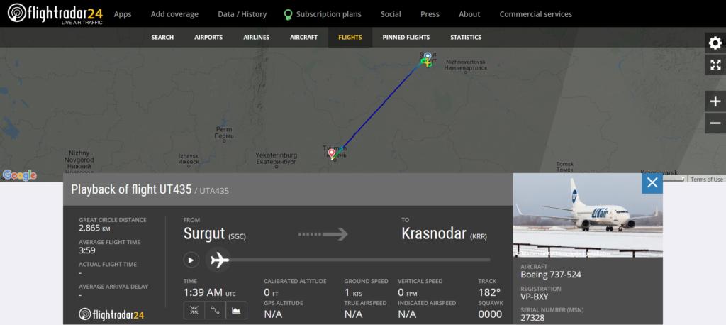 UTair flight UT435 from Surgut to Krasnodar diverted to Tyumen due to airspeed disagree