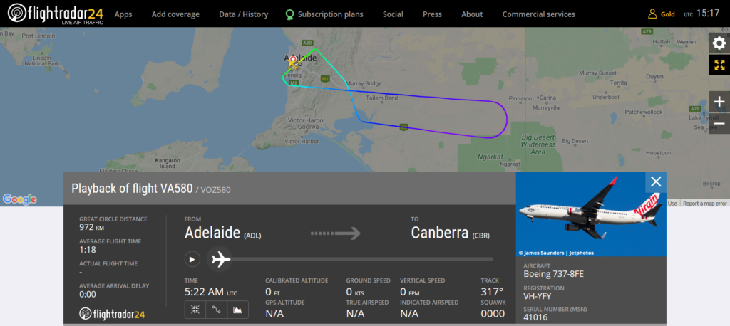 Virgin Australia flight VA580 from Adelaide to Canberra returned to Adelaide due to a medical emergency