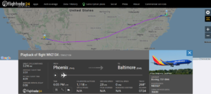 Southwest Airlines flight WN2104 from Phoenix to Baltimore was taken to a remote area of Baltimore Washington International Airport after the crew discovered a written threatening note