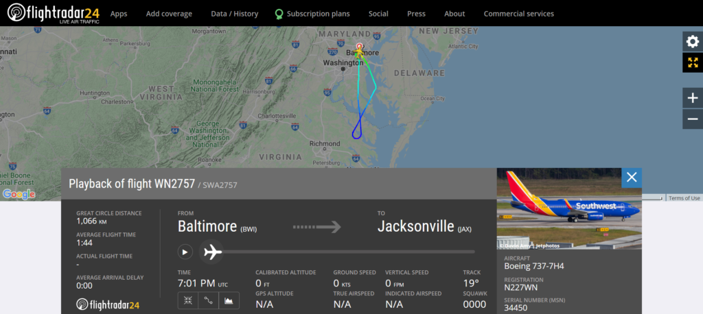 Southwest Airlines flight WN2757 from Baltimore to Jacksonville returned to Baltimore due to a bird strike