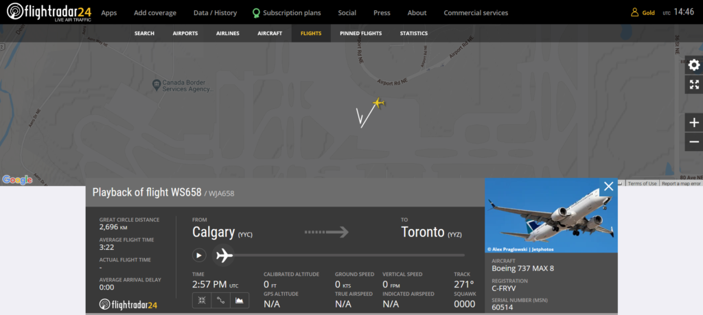 Westjet flight WS658 from Calgary to Toronto was cancelled after potential fault indication
