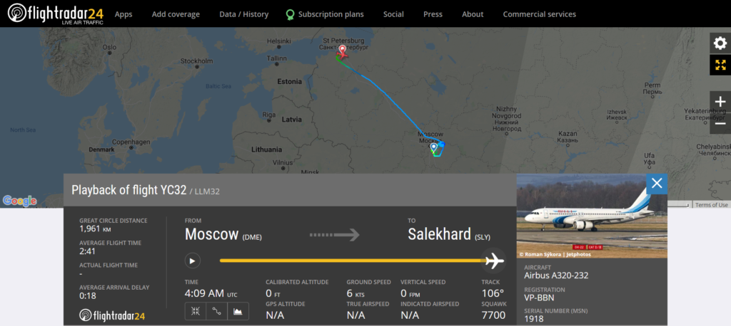 Yamal Airlines flight YC32 from Moscow to Salekhard declared an emergency (squawk 7700) and diverted to St. Petersburg due to a technical issue