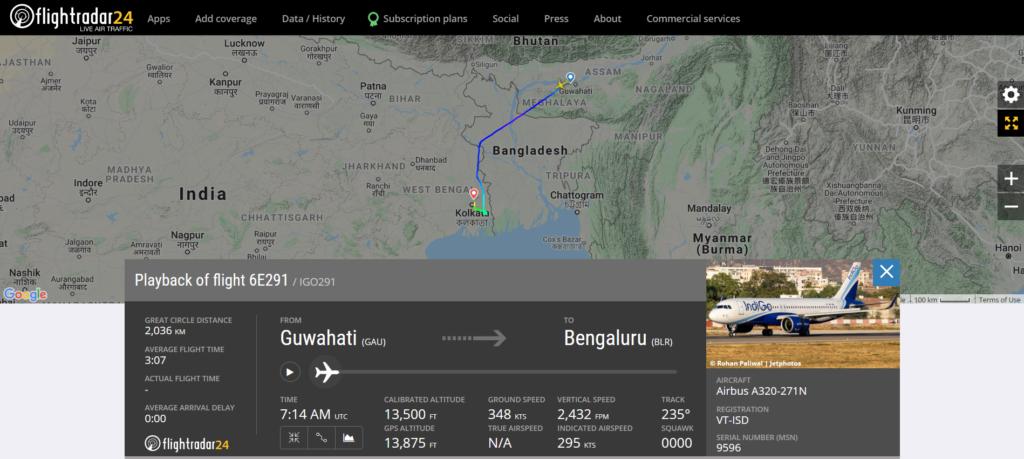 IndiGo flight 6E291 from Guwahati to Bengaluru diverted to Kolkata due to a caution message
