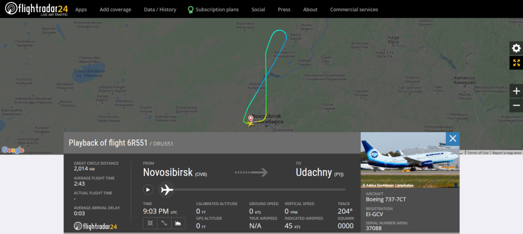 Alrosa flight 6R551 from Novosibirsk to Udachny returned to Novosibirsk due to an engine issue