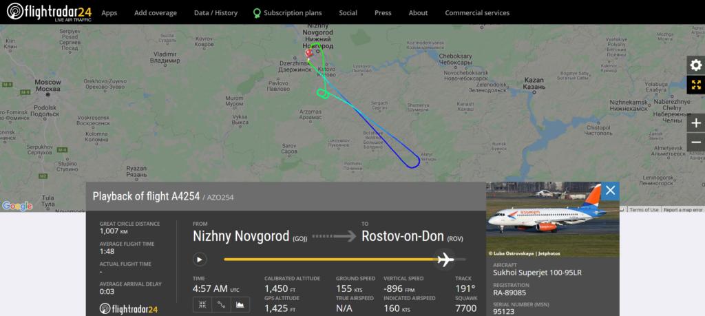 Azimuth flight A4254 from Nizhny Novgorod to Rostov-on-Don declared an emergency and returned to Nizhny Novgorod due to an engine issue