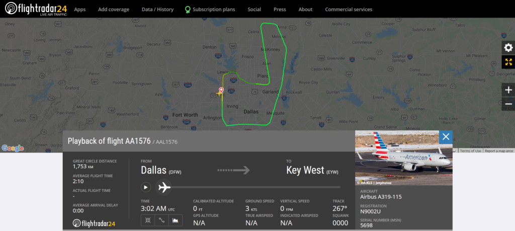 American Airlines flight AA1576 from Dallas to Key West returned to Dallas due to a pressurisation issue