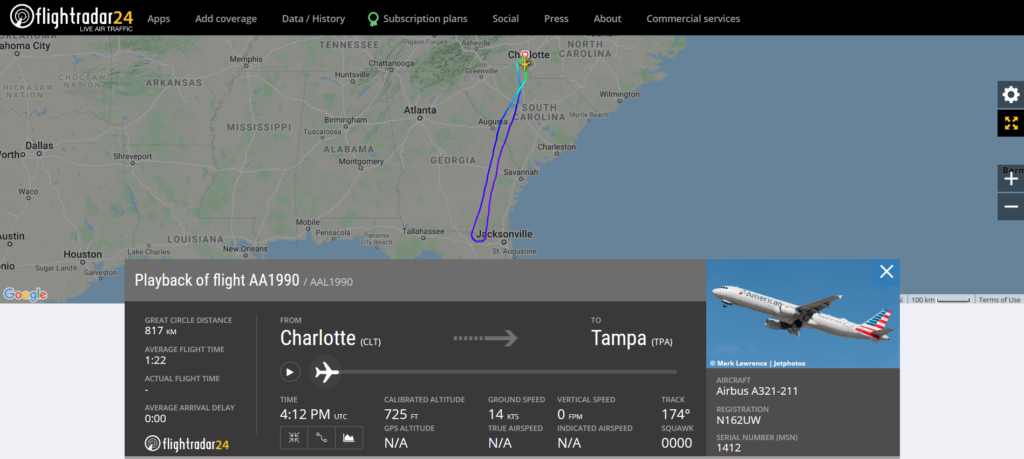 American Airlines flight AA1990 from Charlotte to Tampa returned to Charlotte due to a hydraulic issue