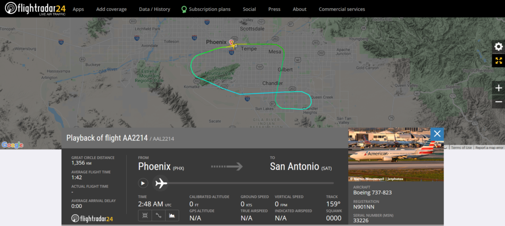 American Airlines flight AA2214 from Phoenix to San Antonio returned to Phoenix due to strange sounds heard in the cockpit