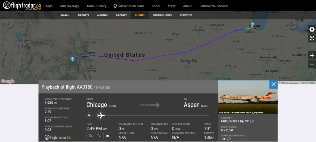 American Airlines flight AA3150 from Chicago to Aspen reported smoke or electrical fumes in the cabin