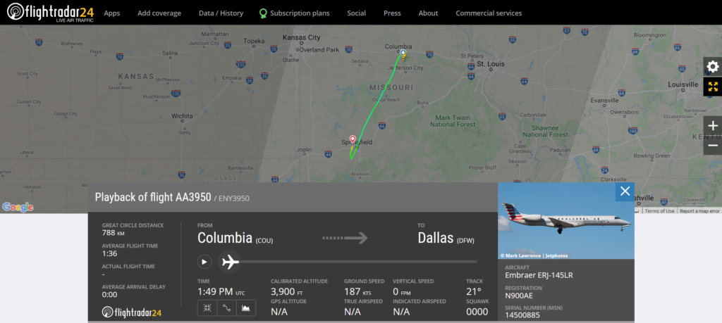 American Airlines flight AA3950 from Columbia to Dallas diverted to Springfield due to a landing gear issue