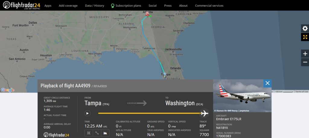An American Airlines flight AA4909 from Tampa to Washington declared an emergency and diverted to Atlanta due to flaps issue