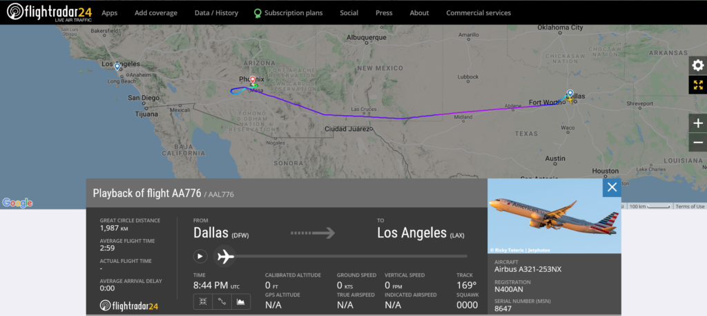 American Airlines flight AA776 from Dallas to Los Angeles diverted to Phoenix due to unruly passenger