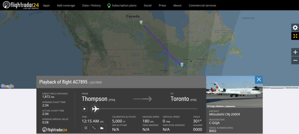 Air Canada flight AC7895 from Thompson to Toronto experienced flaps issue before landing