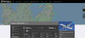Air Canada flight AC8991 from St. John's to Halifax returned to St. John's due to fumes in cabin