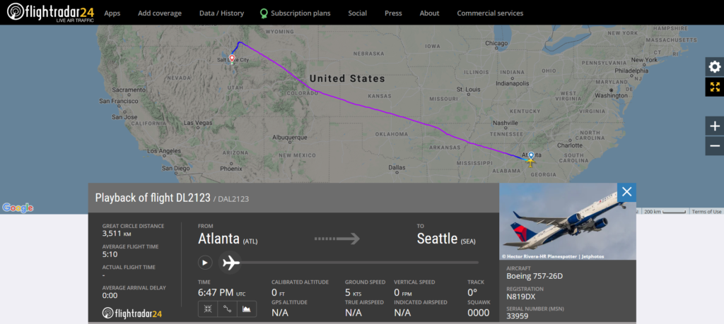 Delta Air Lines flight DL2123 from Atlanta to Seattle diverted to Salt Lake City due to an engine issue