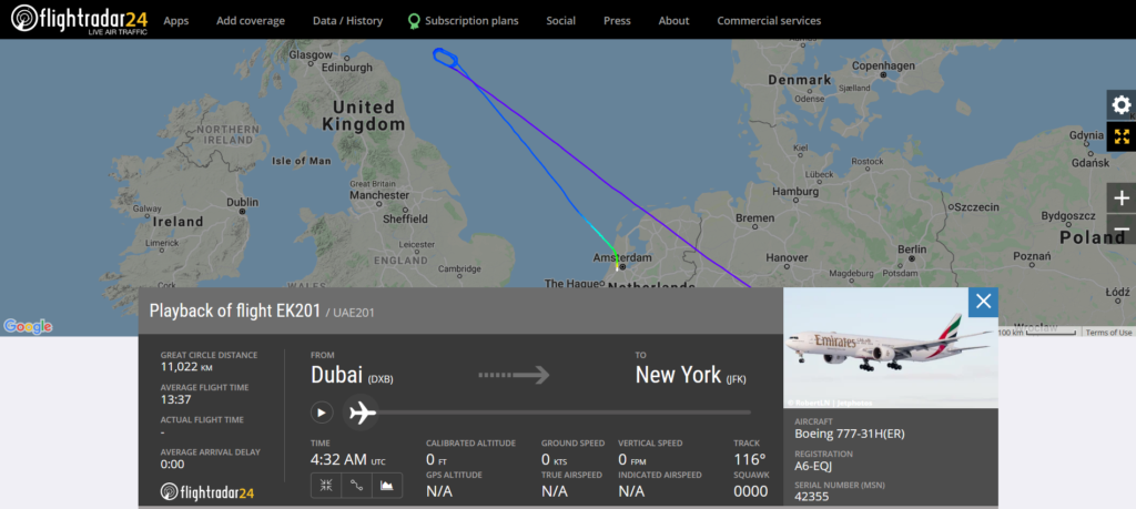 Emirates flight EK201 from Dubai to New York diverted to Amsterdam.
