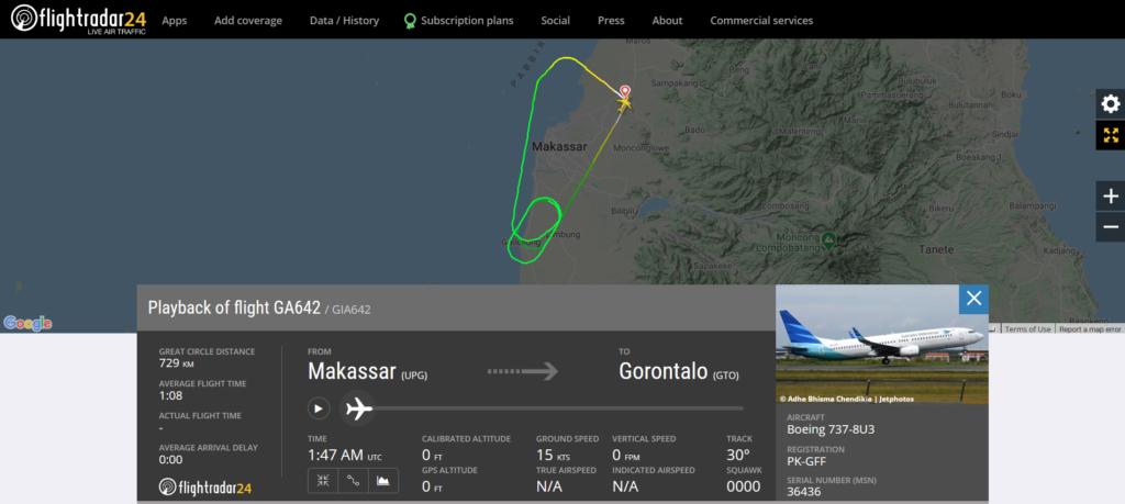 Garuda Indonesia flight GA642 from Makassar to Gorontalo returned to Makassar due to an engine issue