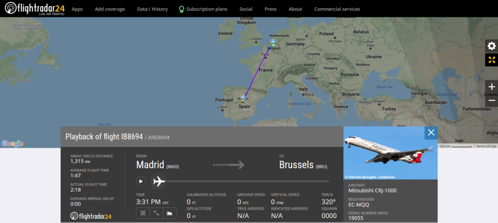 Iberia flight IB8694 from Madrid to Brussels indicated brakes issue before landing