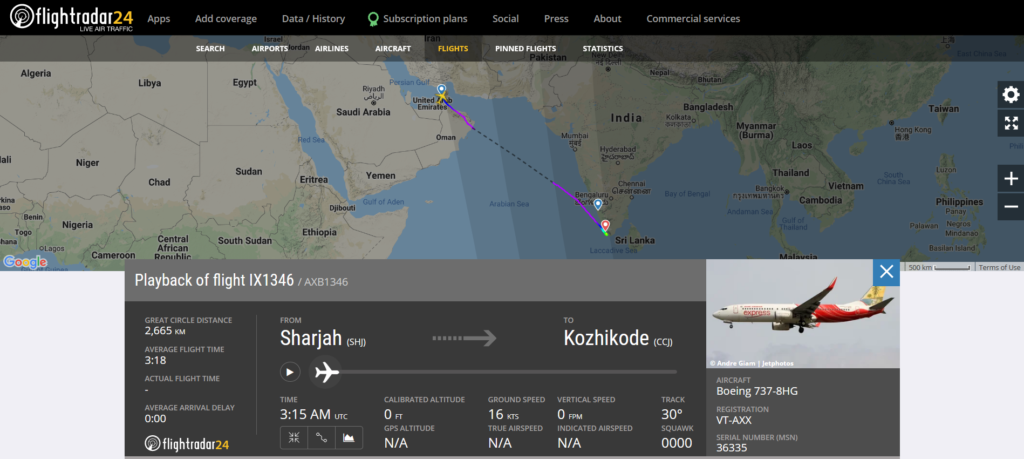 Air India Express flight IX1346 from Sharjah (SHJ) to Kozhikode (CCJ) diverted to Thiruvananthapuram (TRV) due to hydraulic issue.