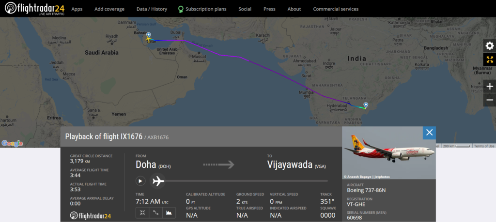 Air India Express flight IX1676 from Doha to Vijayawada collided with a lighting pole while taxing on the Vijayawada runway
