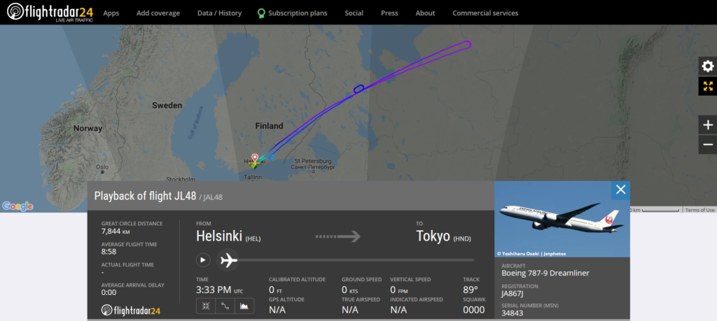 Japan Airlines flight JL48 from Helsinki to New York returned to Helsinki due to an engine issue