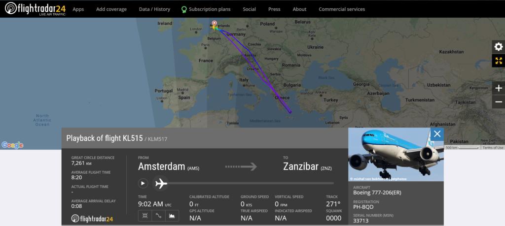 KLM flight KL515 from Amsterdam to Zanzibar returned to Amsterdam due to a bird strike