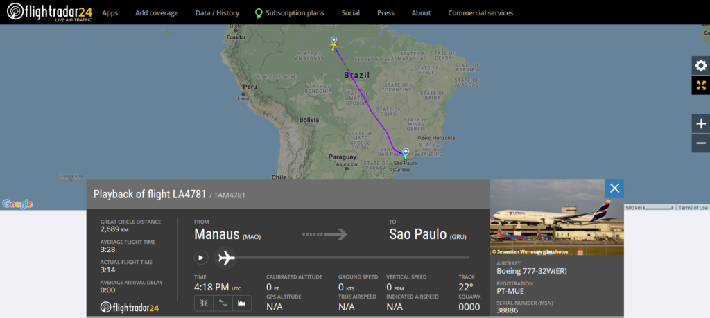LATAM Airlines flight LA4781 from Manaus to Sao Paulo damaged tyre on landing