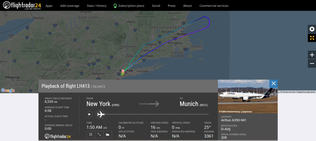 Lufthansa flight LH413 from New York to Munich returned to New York due to an odor on board