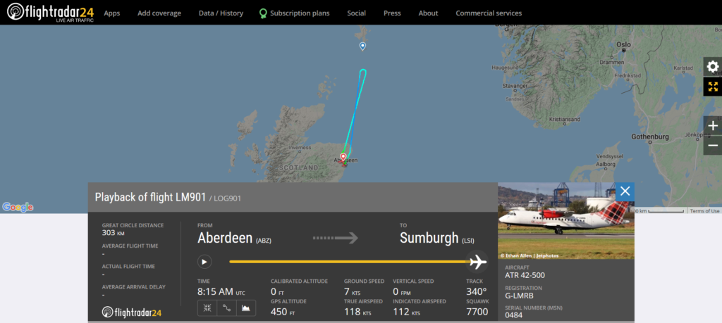 Loganair flight LM901 from Aberdeen to Sumburgh declared an emergency and returned to Aberdeen due to an engine issue