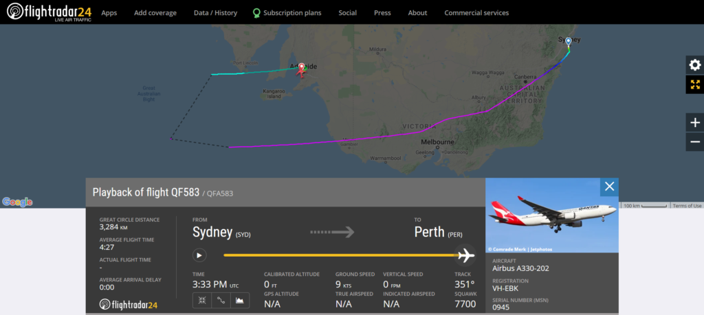 Qantas flight QF583 from Sydney to Perth declared an emergency and diverted to Adelaide due to a pressurisation issue